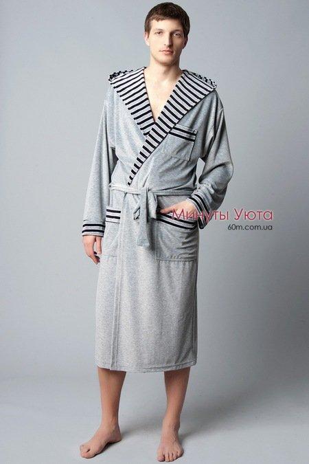 4762d418be91 Купить велюровый халат мужской серый в Харькове (хлопок+полиамид ...