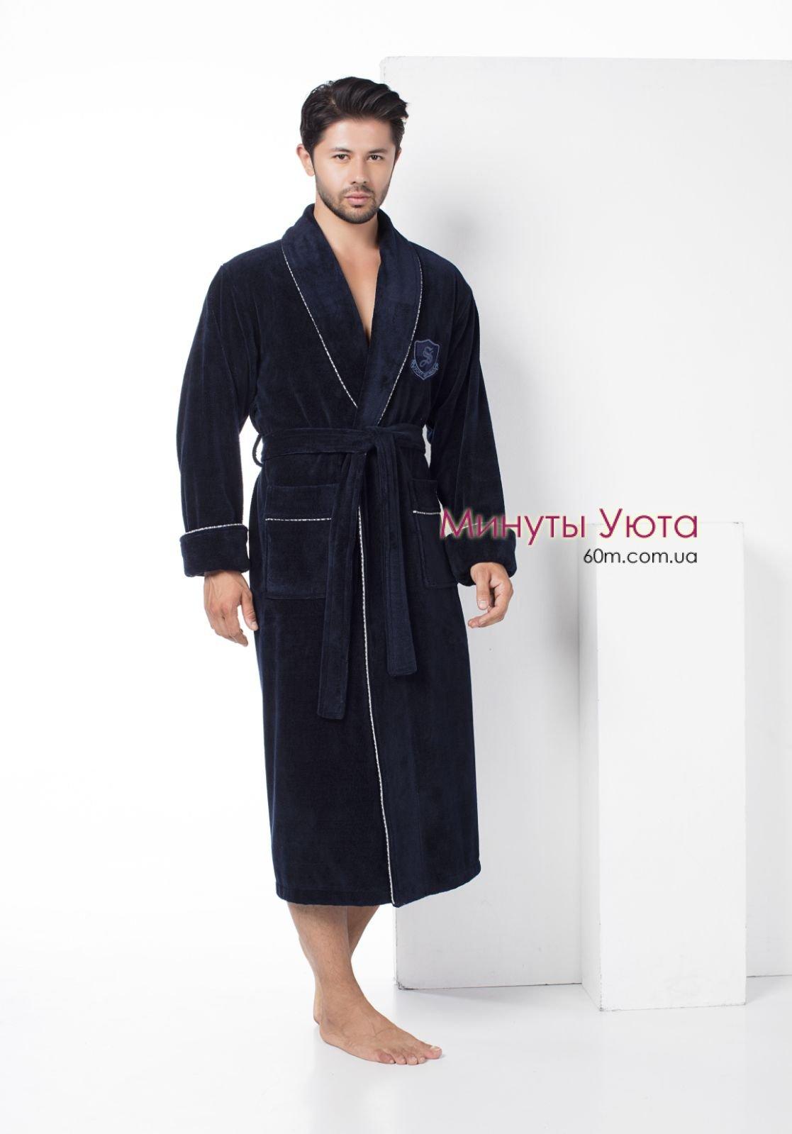 8bf70a340b639 Синій халат махровий чоловічий купити в Дніпрі (Nusa, бавовна ...