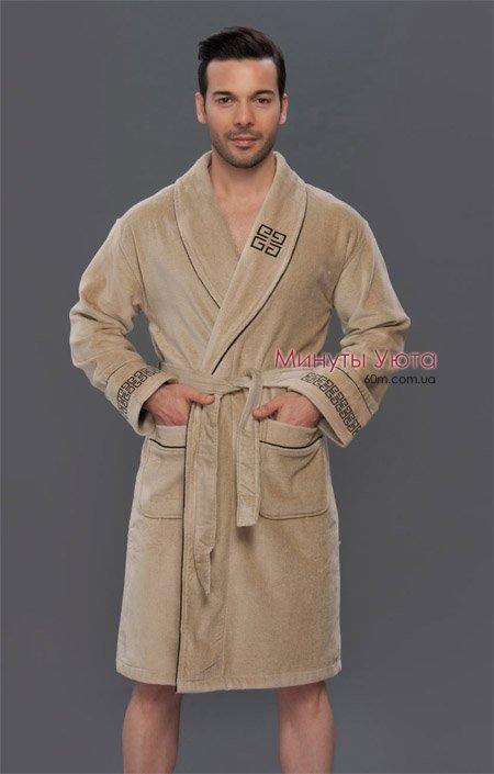 34f8d68d4b9e1 Купить махровый халат мужской бежевый во Львове (хлопок, Virginia ...