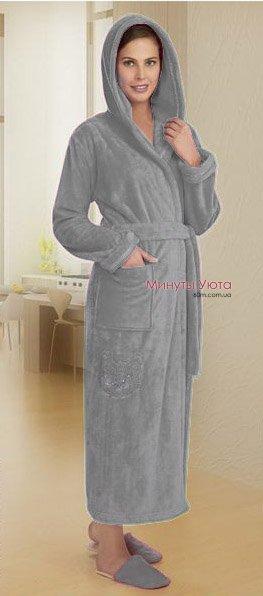 3bdc2a0d61740 Серый халат махровый женский купить в Харькове (Cocoon, микрофибра ...