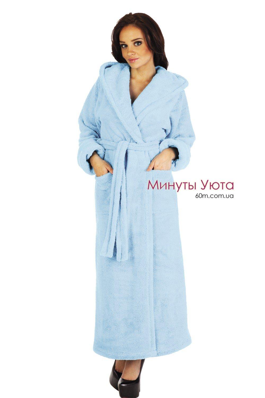 78921f5b26515 Купить махровый халат женский голубой в Киеве (микрофибра, Delafense ...