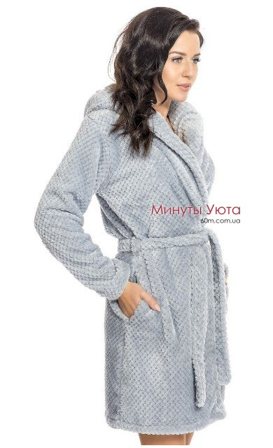 Плюшевый халат в сером цвете Dobra Nochka ... df148f184e60c