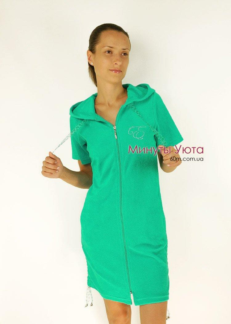 Жіночий халат махровий зелений (Esratash a75eb763c304b