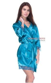 Атласный халат изумрудного цвета с кружевом Serenade 8970f481b6887