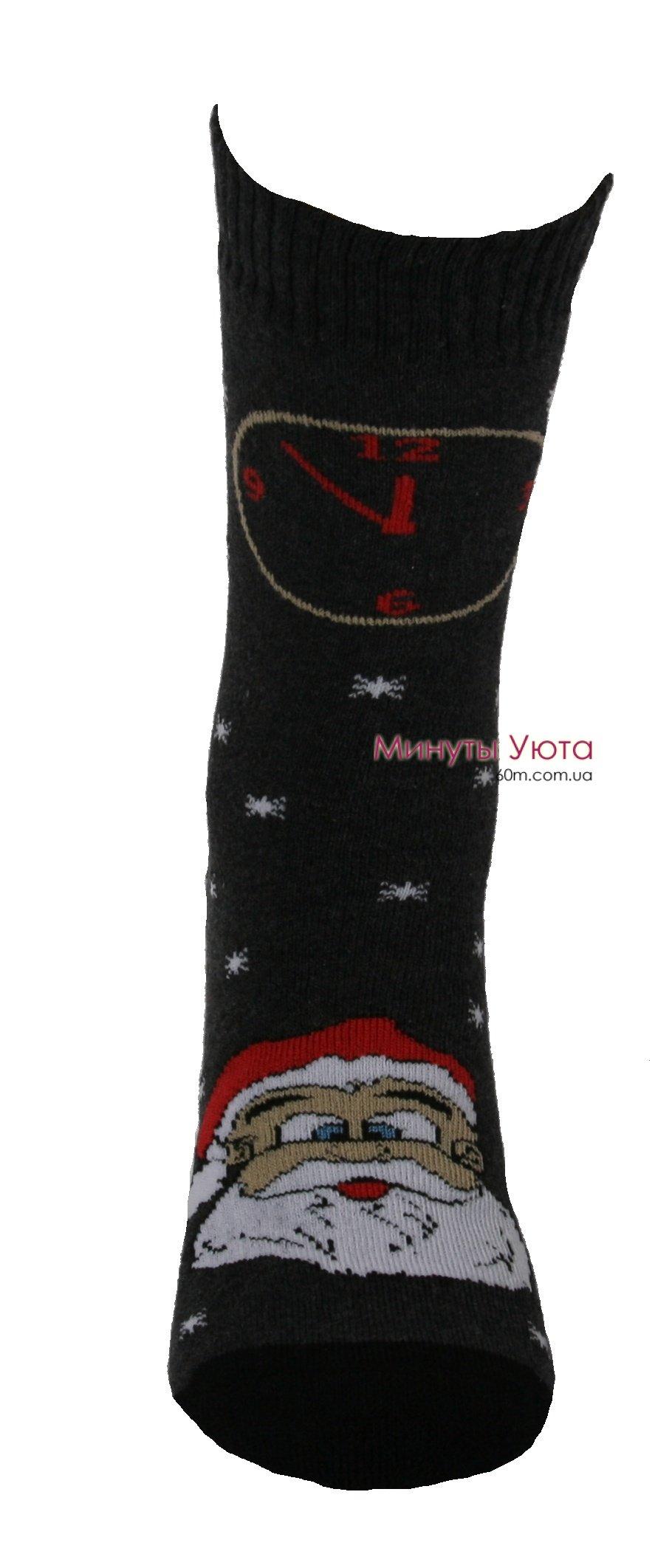 095cf17faab0e Теплые носки в темно-сером цвете с Дедом Морозом. Купить в Украине ...