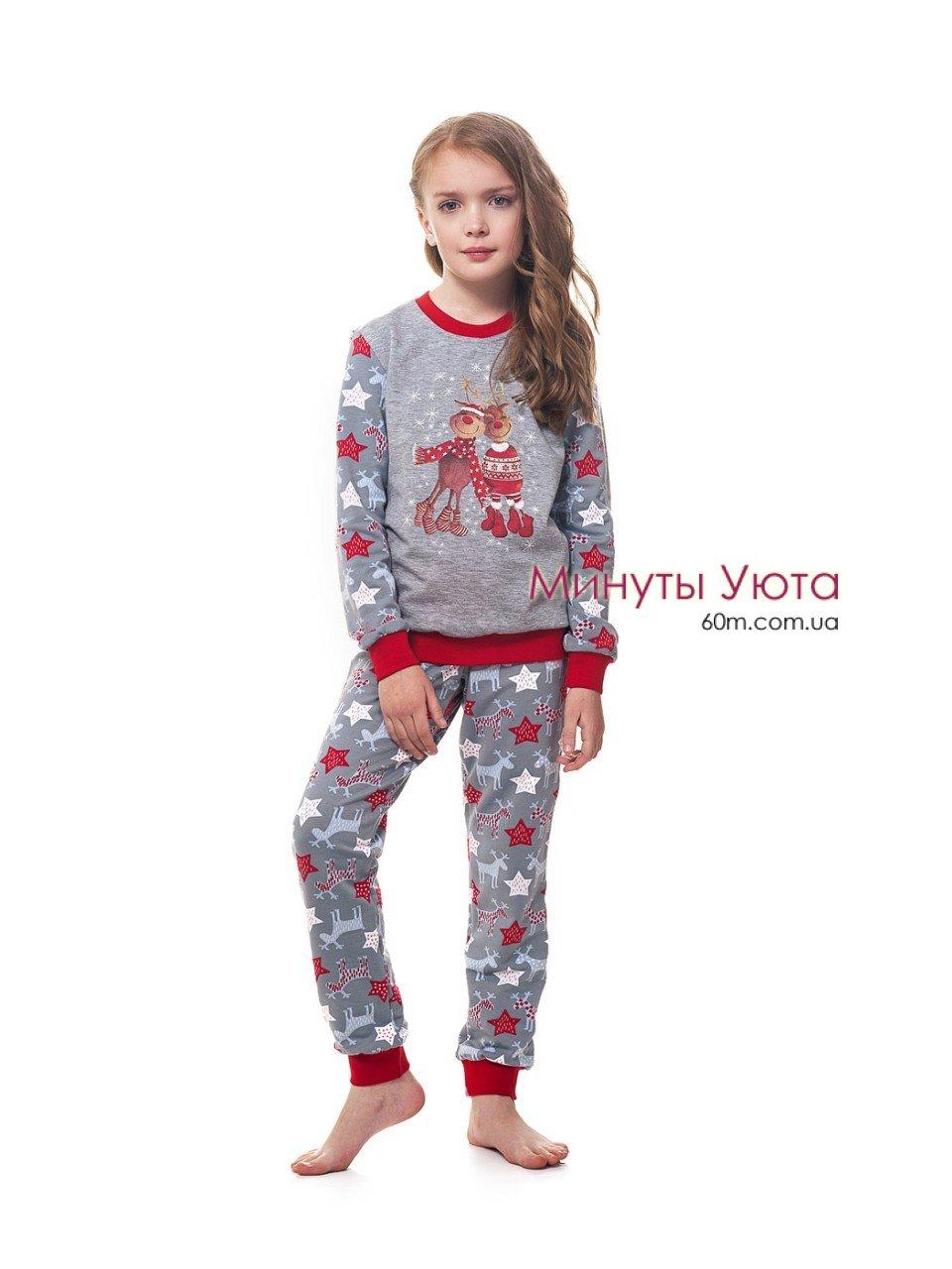 e419fbb6a8ba Детская байковая пижама в новогодний принт - купить, в составе кофта ...