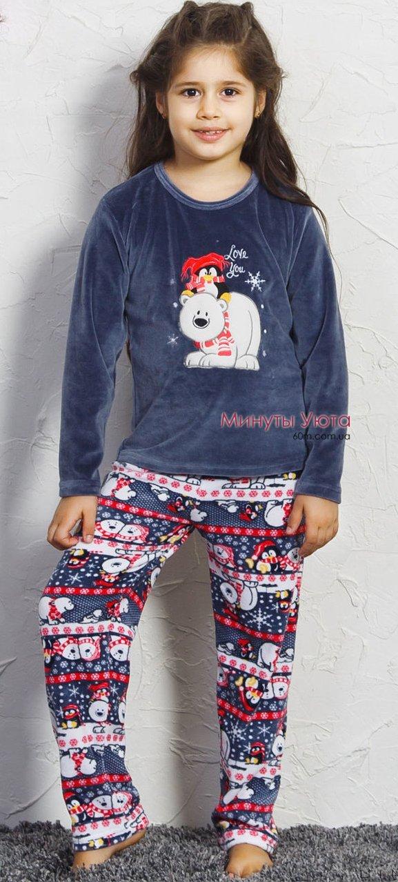 6153db3d58dd Велюровый костюм для девочки, цвет синий. Производитель пижамы ...