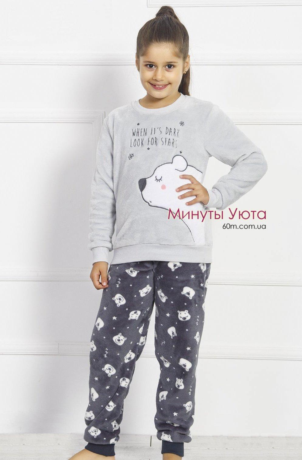 94639e8d3b2cd2 Сіра плюшева піжама з милим ведмедиком, колір сірий. Виробник піжами ...