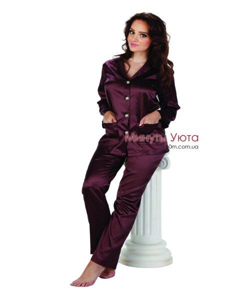 bd4eb39ed6747 Сливовая атласная пижама купить Киев, Украина. Цвет пижамы ...