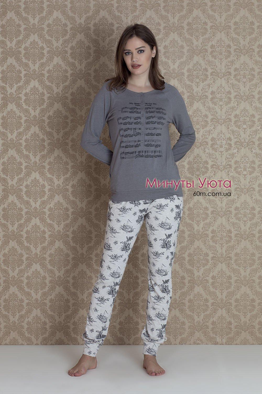 e0761415e453 Женская пижама с нотами - купить, в составе кофта+брюки. материал ...