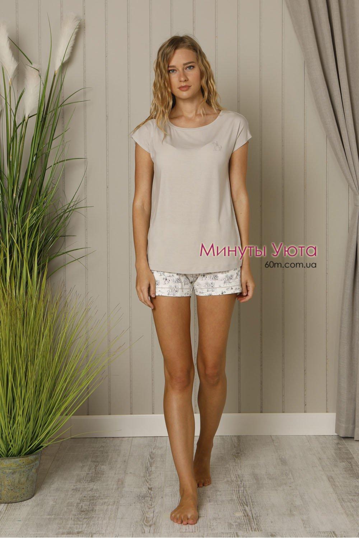 49633f021a42 Летняя пижама в сером цвете - купить. Состав: футболка+шорты ...
