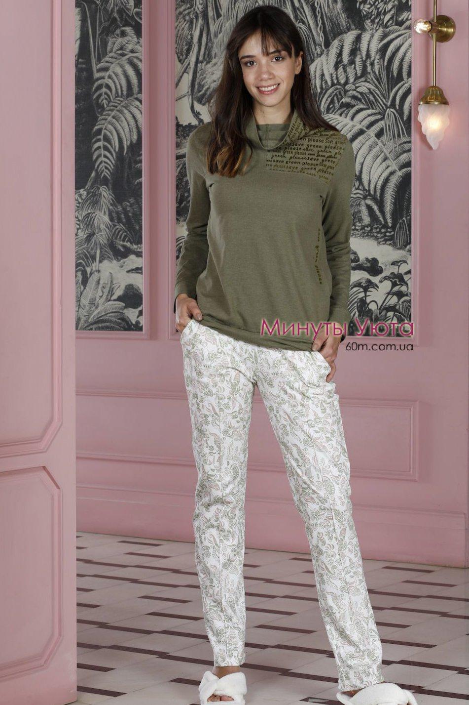 d0fe671e5563 Трикотажная пижама с высоким воротником в зеленом цвете от ...
