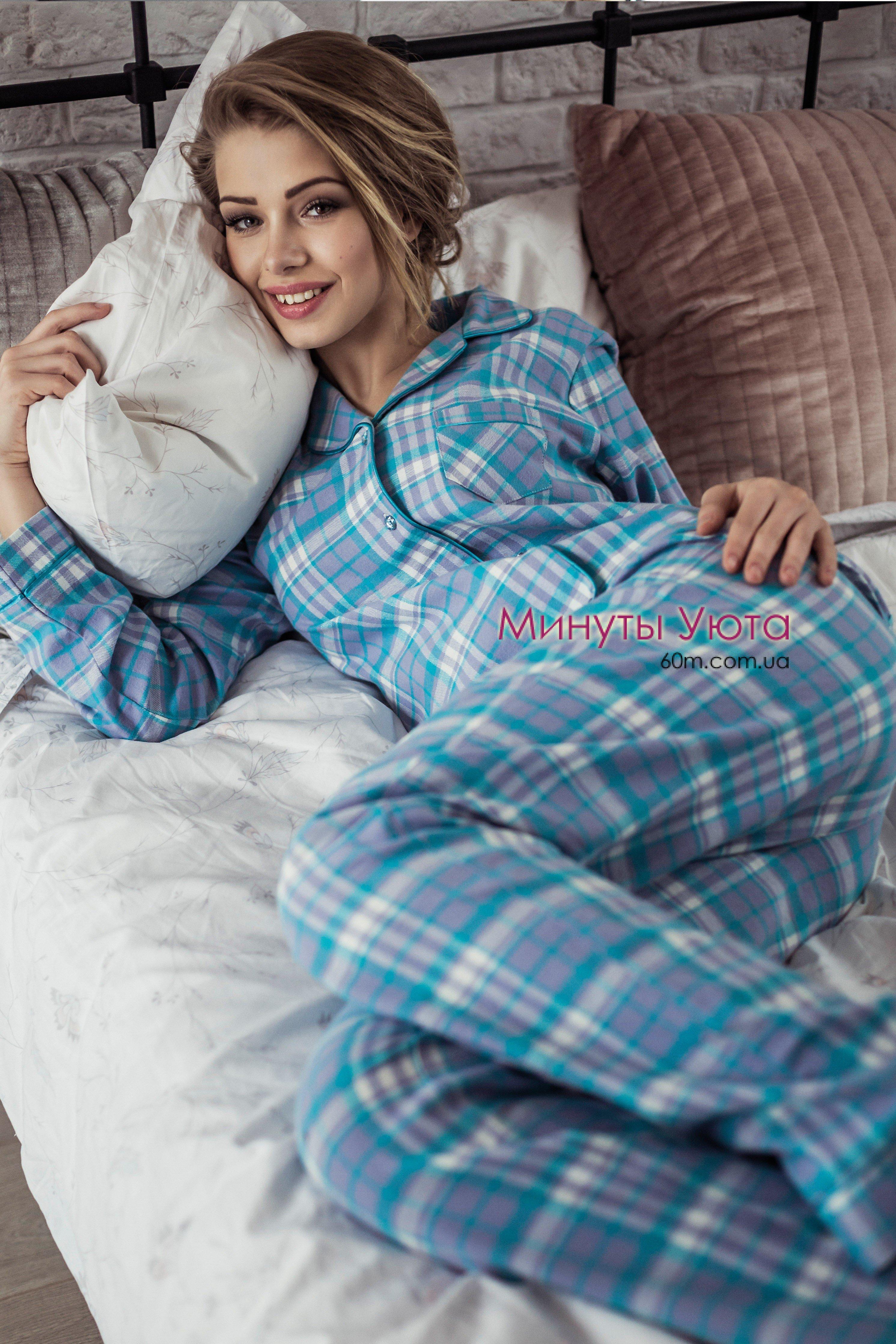 Фланелевая пижама в клетку на пуговицах - купить b79788dc15621