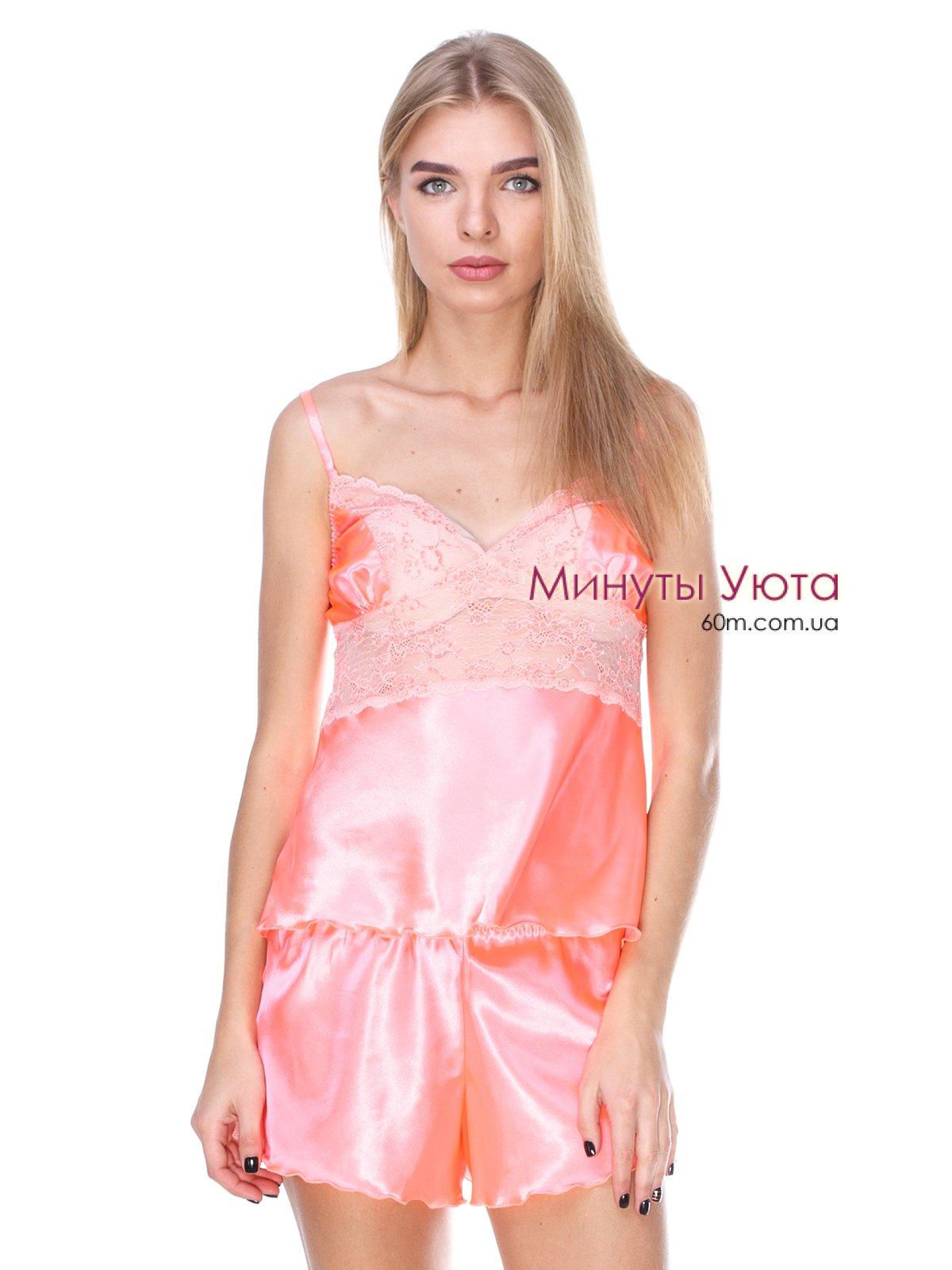 b1d1d7737c38 Атласный комплект майка и шорты абрикосового цвета купить Киев ...