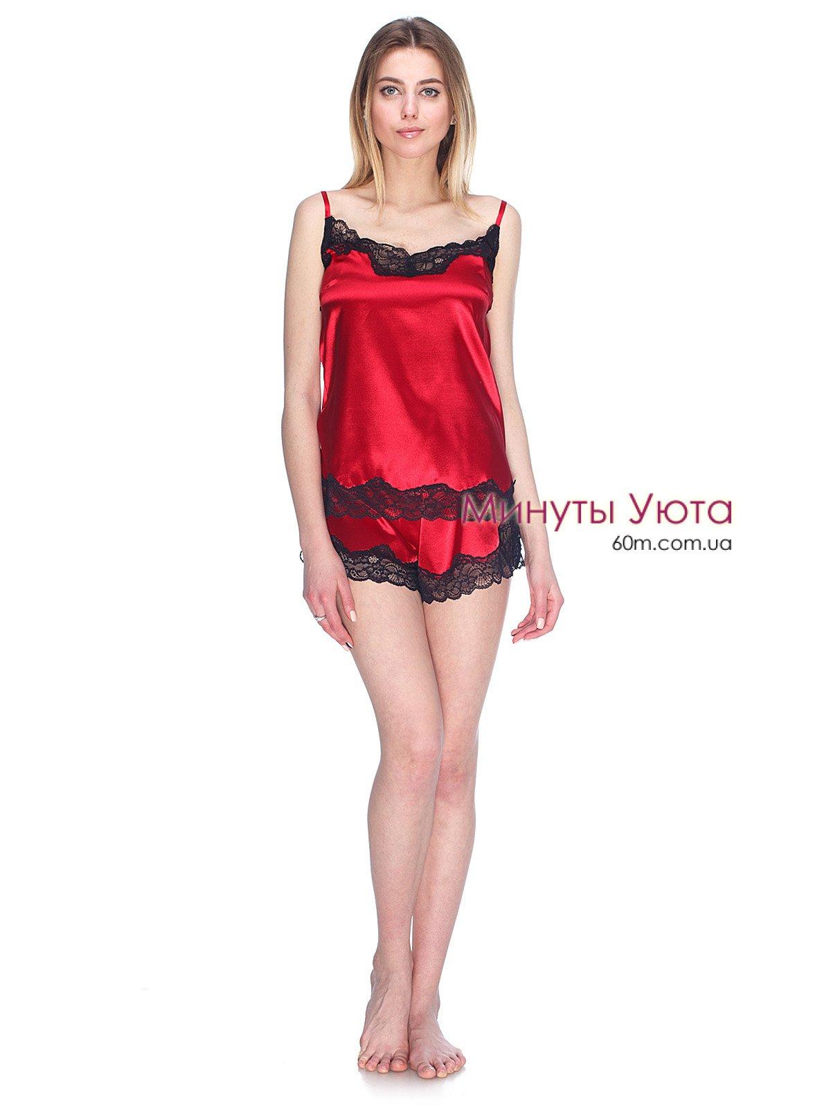 032c8fccaa546 Красная атласная пижама с черным кружевом - купить, в составе майка+ ...