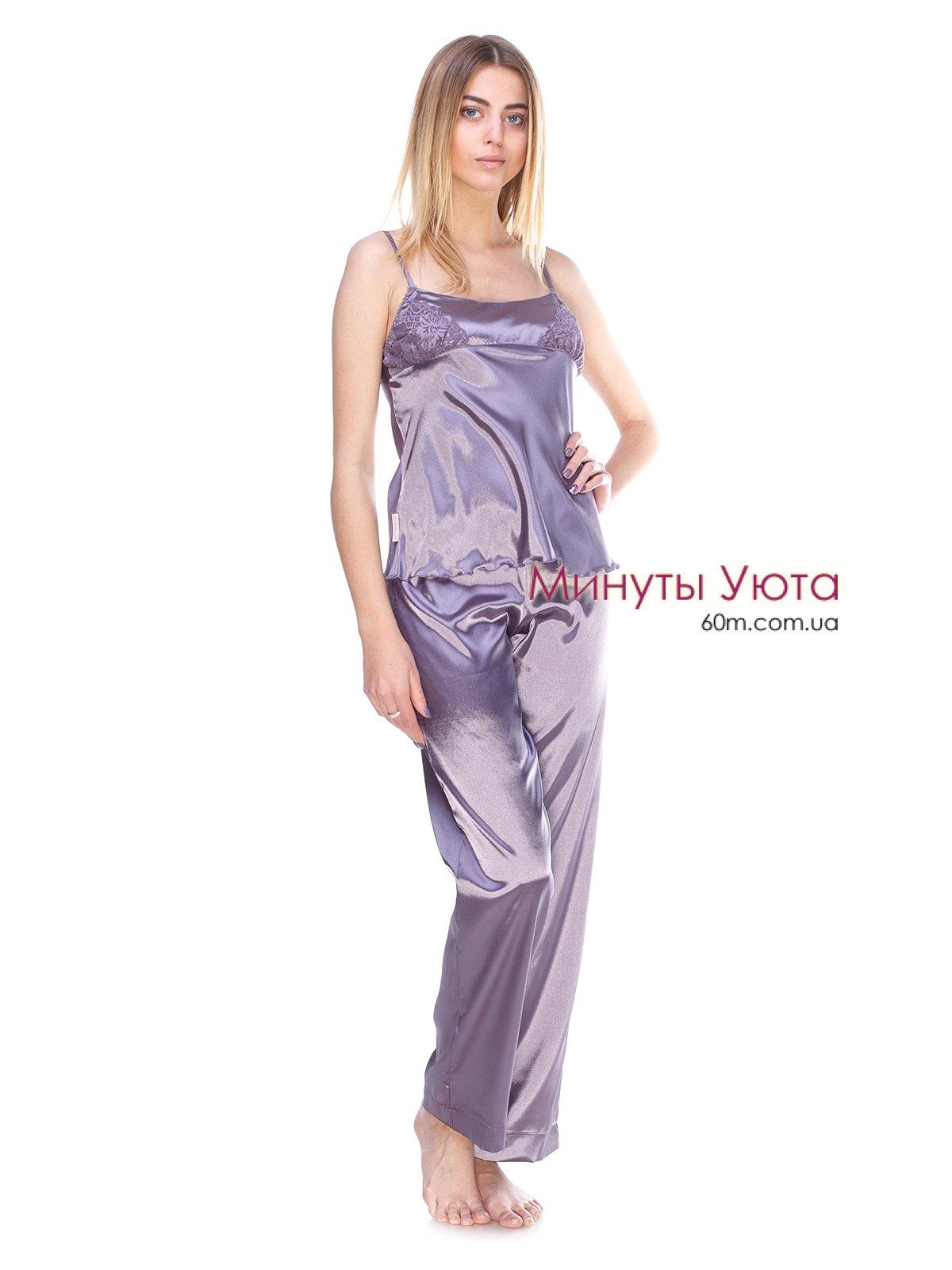 381b7c9ee3702 Атласная пижама графитового цвета купить Киев, Украина. Цвет пижамы ...