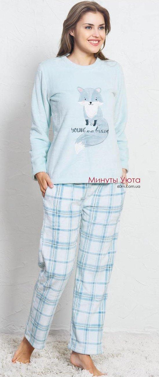 Женская плюшевая пижама в ментоловом цвете с лисенком Vienetta Secret 137a4fb4f4ef6