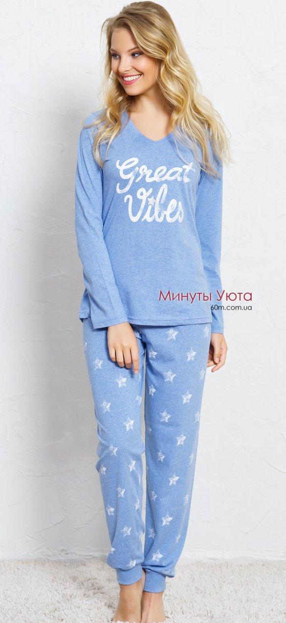 Женская пижама с брюками на манжетах Vienetta Secret 609595815ad2b