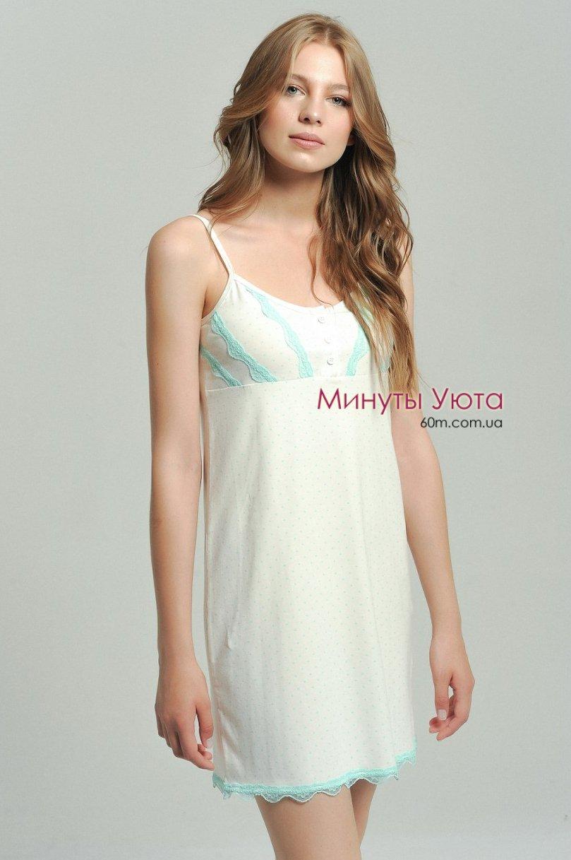 Белая сорочка с вставками из кружева мятного цвета Ellen 26bbf604cdfdc
