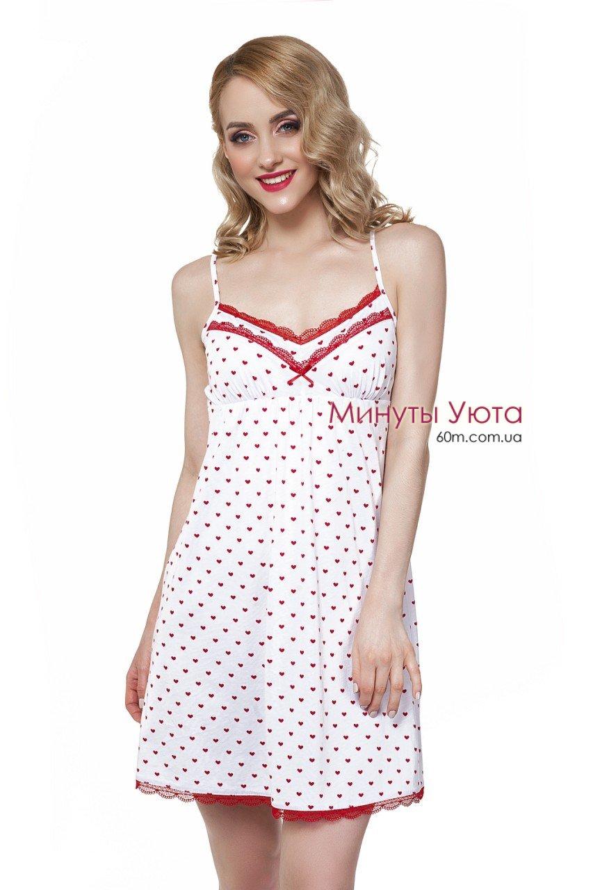 Белая сорочка в сердечках с кружевными вставками Ellen 23d9f8ca39bf8