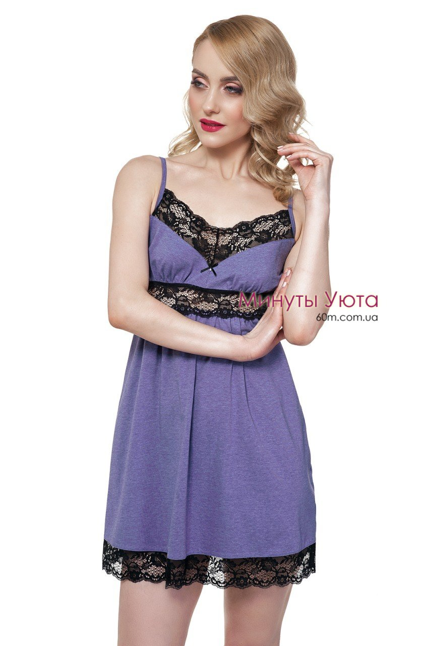 Трикотажная сорочка фиолетового цвета с черным кружевом Ellen 54d396a3d8db1