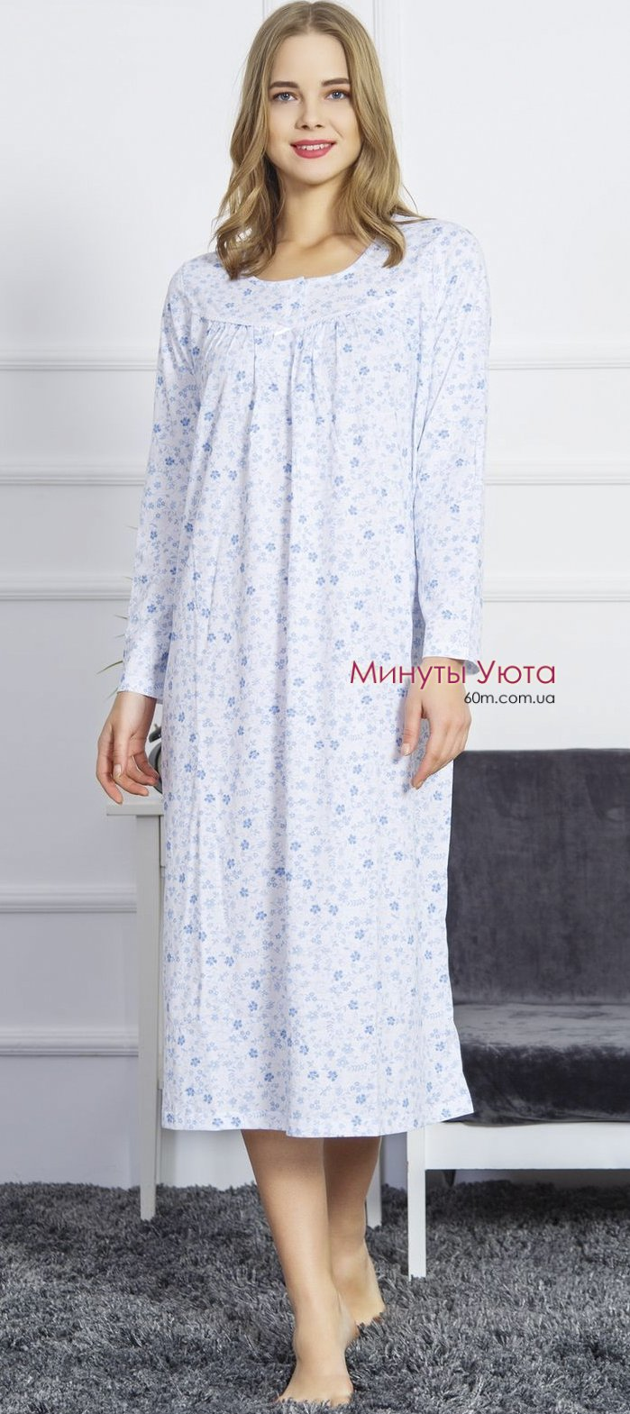 218ea9c265ee258 Ночная рубашка в голубом цвете в цветочный рисунокв Днепре. Рукав ...